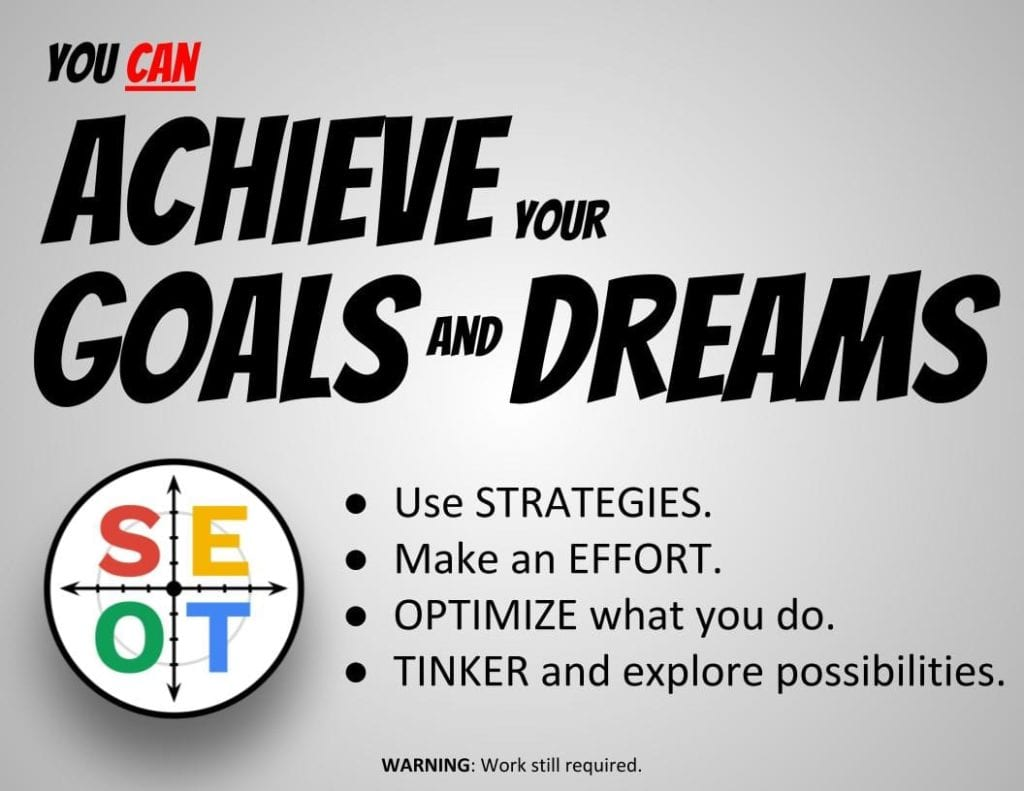 SEOT Goal Setting Powerpoint for Students Slide - You can achieve your goals and dreams - Use Strategies, Make an Effort, Optimize what you do, and Tinker and explore new possibilities.