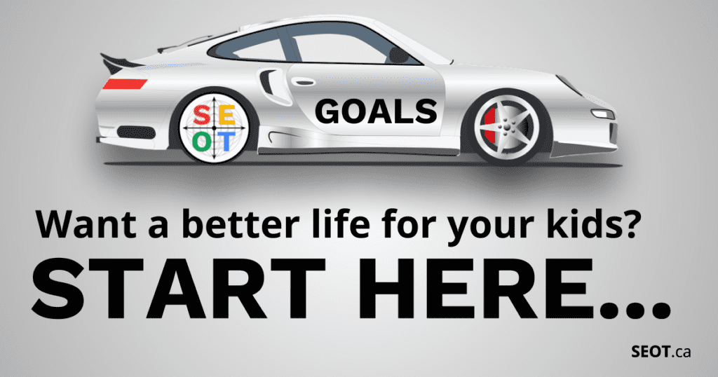 Cover with SEOT wheel of success metaphor in a car: Want a better life for your kids? Start Here (Goal Setting)