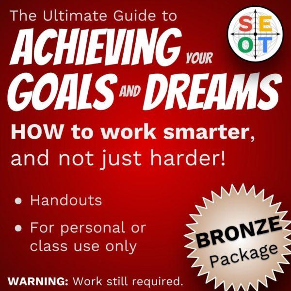Screenshot of goal setting handout - bronze package