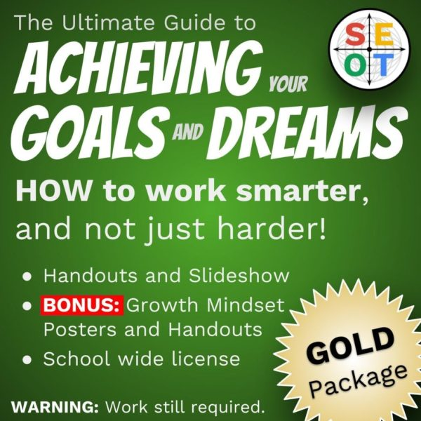 Screenshot of goal setting package - gold level